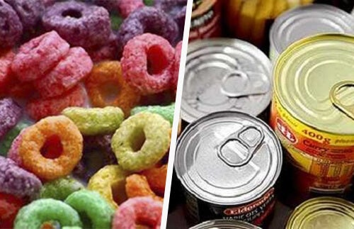 Przetworzone produkty - konserwy i chrupki
