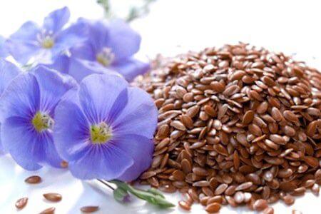 zdrowe nasiona siemię lniane i kwiaty lnu