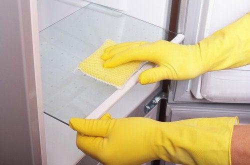 Mycie lodówki w rękawiczkach