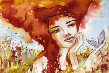 Obraz kobiety z motylem