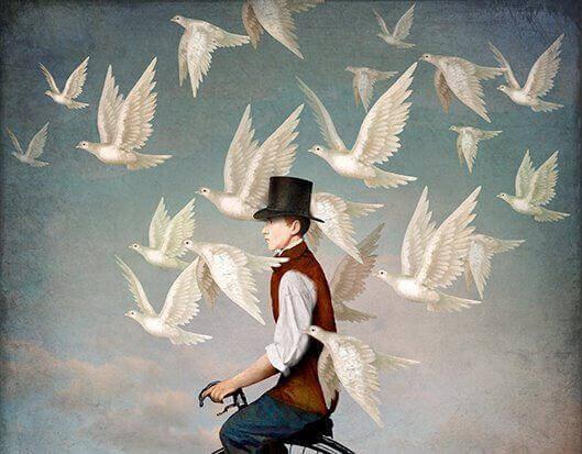 Chłopiec prowadzi życie wśród gołębi