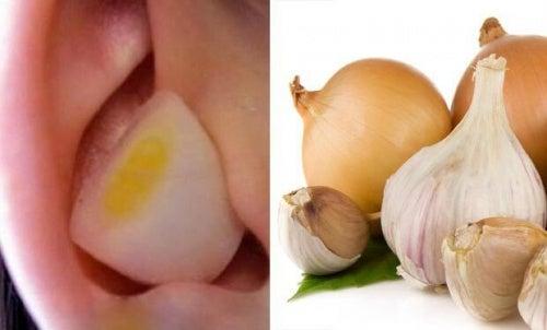 Kawałek cebuli i czosnku w uchu