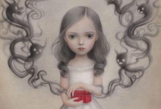 Dziewczynka z pudełkiem symbolizuje dystans