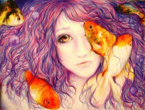 Kobieta z rybami