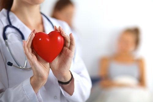 Lekarz trzyma czerwone serce