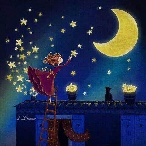 Kobieta zawiesza gwiazdy na nocnym niebie
