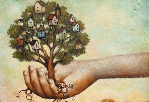 drzewo na dłoni