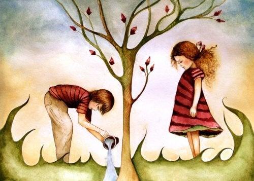 Dzieci pod drzewem, bez telefonu