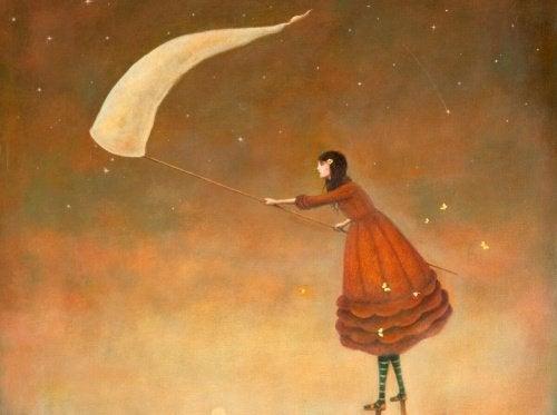 dziewczyna łapiąca gwiazdy