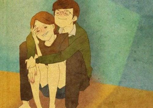przytulająca się para, miłość na co dzień