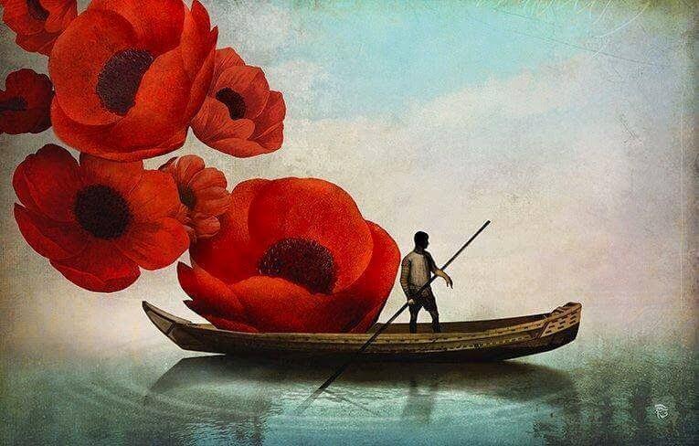 Łódź z kwiatami