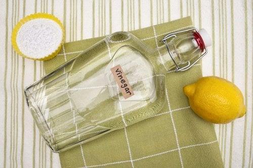 Butelka octu z solą i cytryną