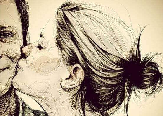 Kobieta całuje mężczyznę zamiast oczekiwać zbyt dużo