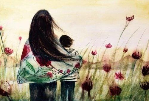 Kobieta i jej bratanek na łące