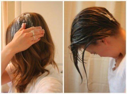 olej kokosowy na włosach