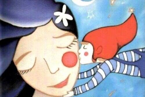 Skrzat całuje dziewczynkę