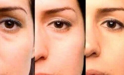 3 ujęcia połowy kobiecej twarzy