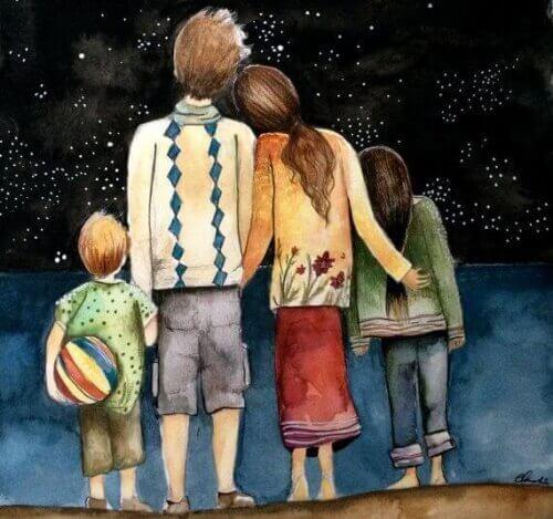 Rodzina patrząca w gwiazdy