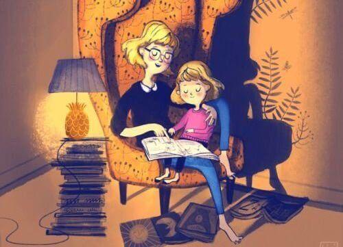 matka i dziecko na krześle