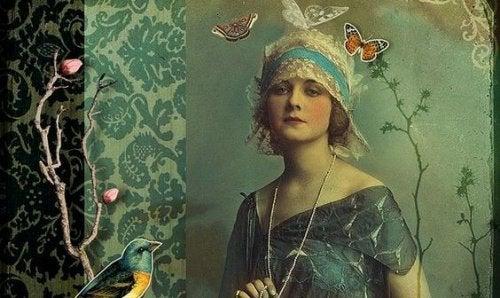 Kobieta wśród motyli