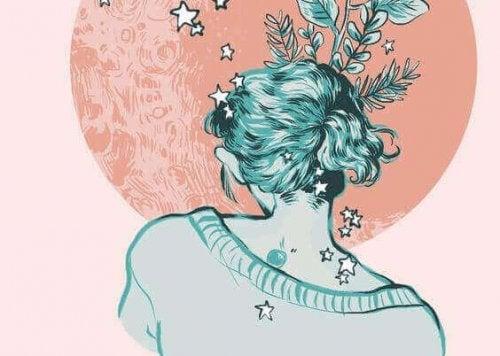 Kobieta siedziąca z gwiazdkami