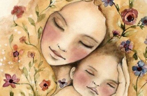 Przytulona matka z dzieckiem