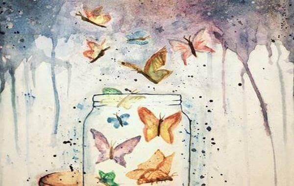 Motyle wylatują ze słoika.
