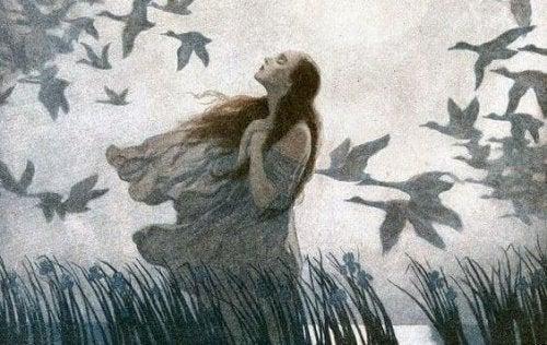Kobieta wsrod ptaków i jej nieodwzajemniona miłość