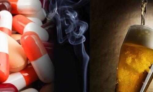 Tabletki, dym papierosowy, piwo