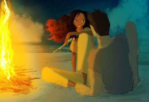 Para przy ognisku