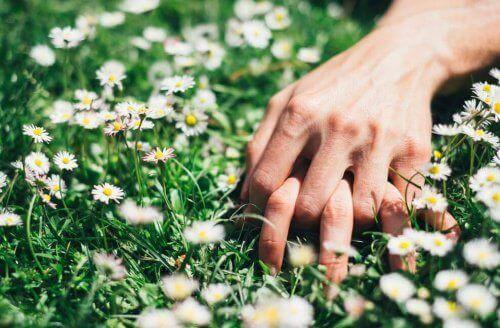 dłonie w kwiatach