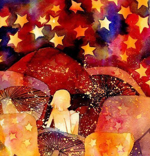 Dziecko patrzace na gwiazdy