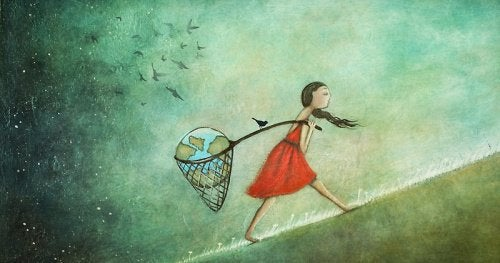dziewczynka idąca pod górę