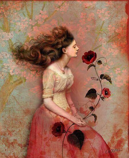 kobieta z różą - pozytywni ludzie