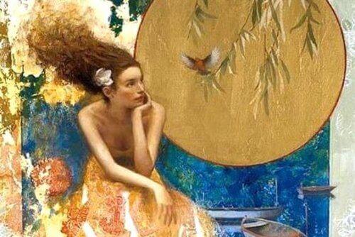 Kobieta, ptak i księżyc.
