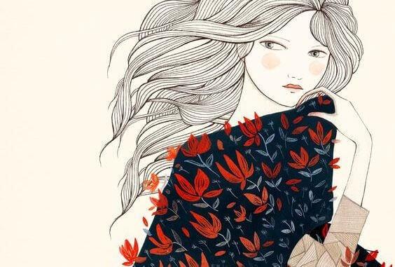 Kobieta w sukni z kwiatów