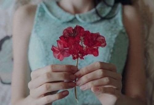 Kwiatek w dłoniach