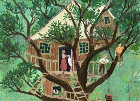 rodzina w domku na drzewie
