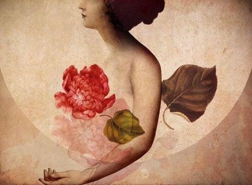 kobieta i róża