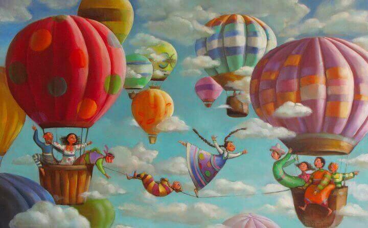 wiele lecących balonów