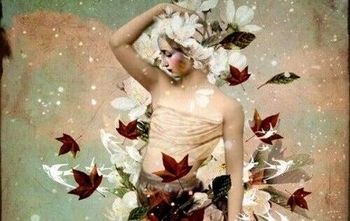 Odpowiedzialność to nie wyrzuty sumienia - kobieta w kwiatach i liściach