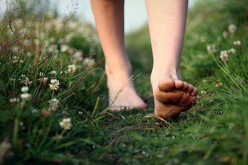 Spacer na boso po trawie