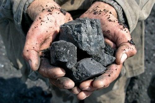kawałki węgla w dłoniach