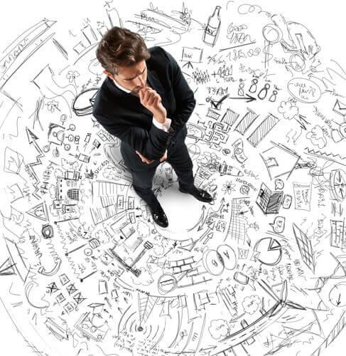 Mężczyzna analizujący swoje myśli