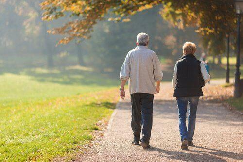 spacerujący starsi ludzie