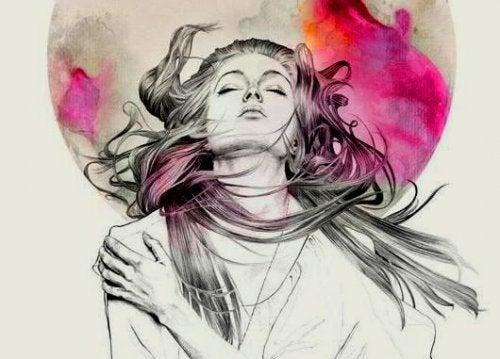 kobieta na kolorowym tle