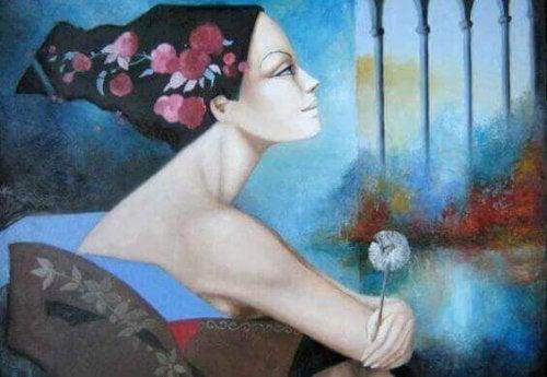 Kobieta z dmuchawcem