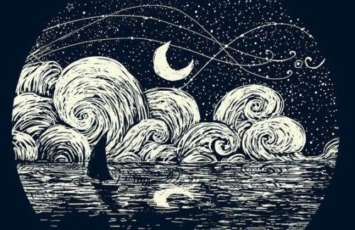 żaglówka w nocy