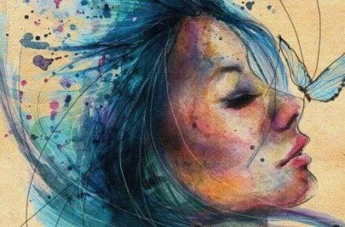 akwarela - kobieta z motylem na nosie