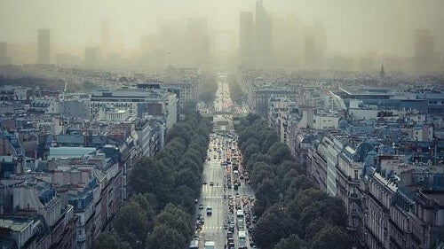 Zanieczyszczone powietrze w mieście